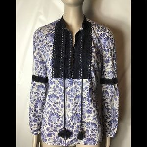 Tory Burch long sleeve cotton blouse size 2